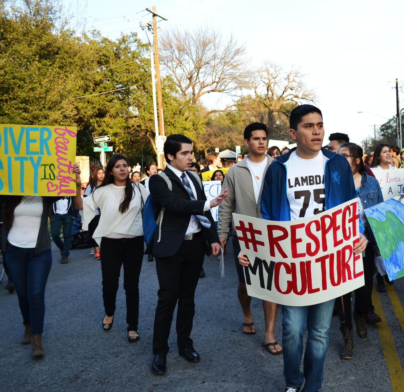 Edwin Hurtado, fourth year government, helps lead the United Against Racism March in Austin, Texas on February 12, 2015. He is an officer in UT Latinos and participated in the march by standing with his fellow officers during the rally and by chanting along with the crowd during the protest.
