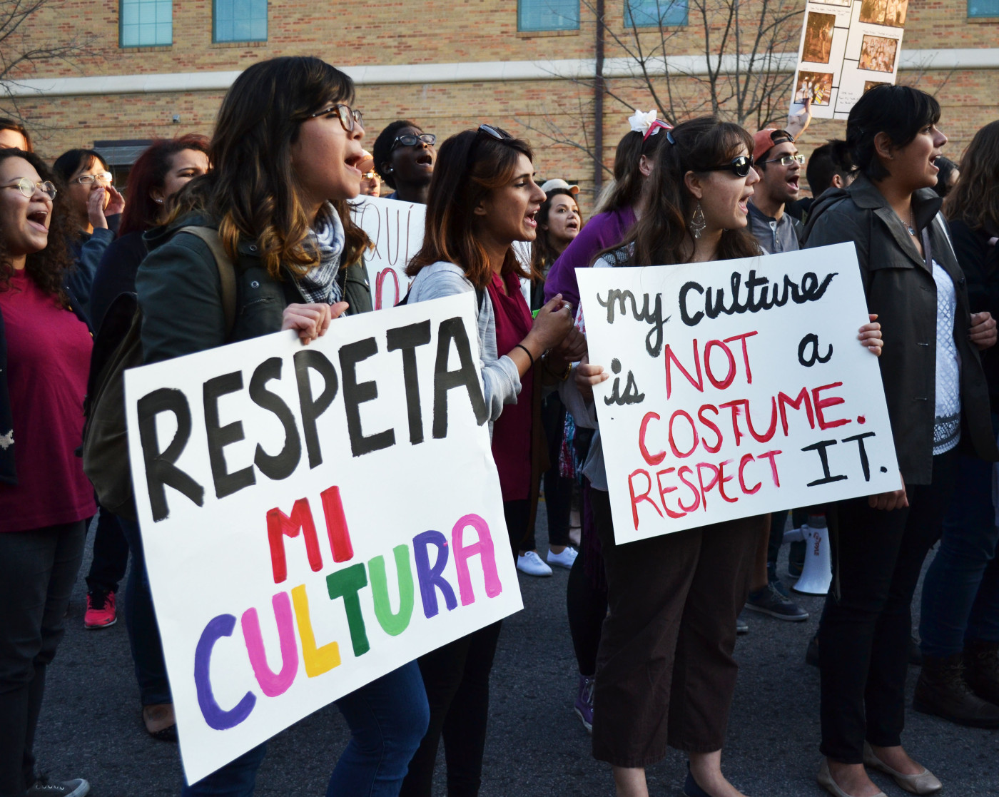 Andi Clark, junior Latin American studies, participates in the United Against Racism March on February 12, 2015 in Austin, Texas. Andi said she wants the University to be a safe place where her, and many other student's, culture can be respected.