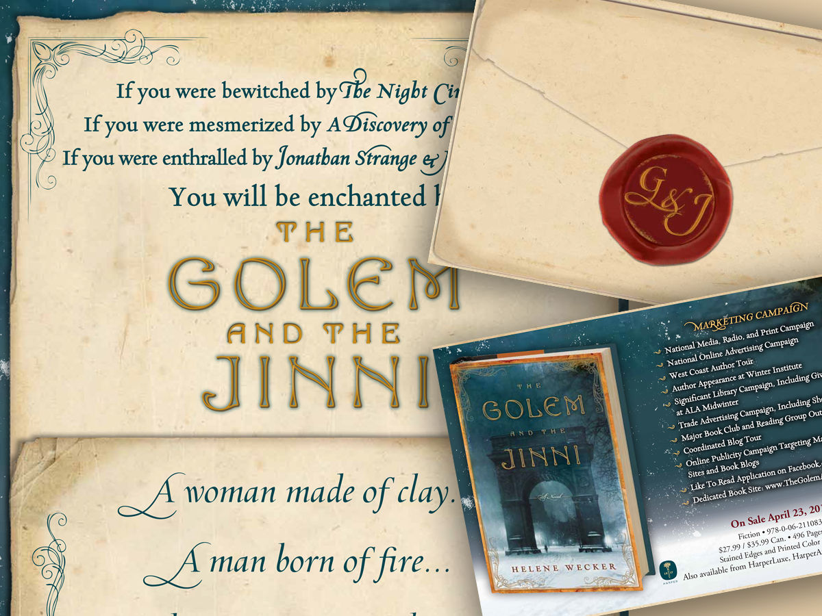 Brochure created for the bestselling novel  The Golem and the Jinni.