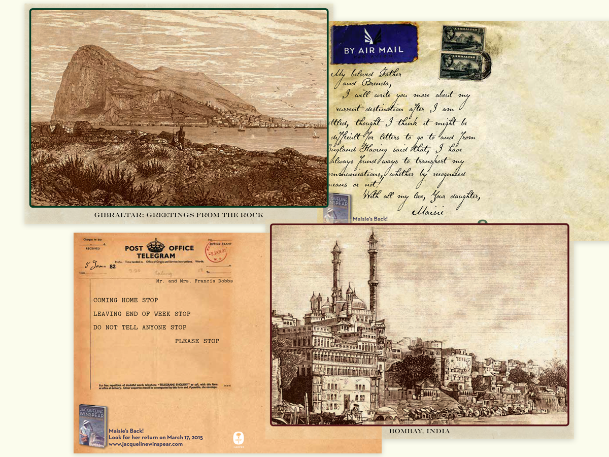 Facsimile postcard campaign for the Maisie Dobbs novel  The Most Dangerous Place.