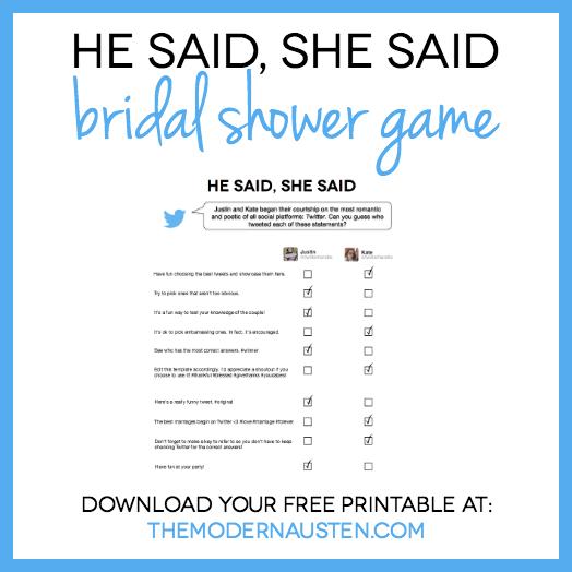 He Said She Said Bridal Shower Game Free Printable