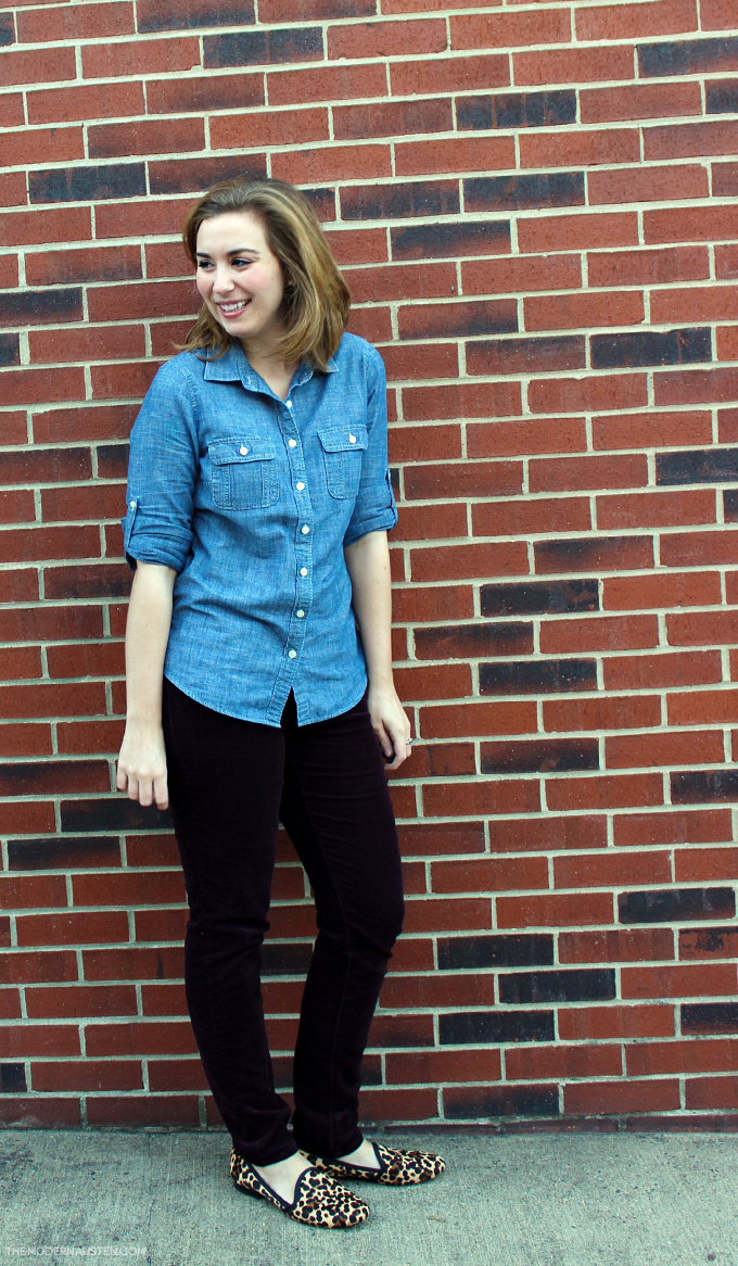 Chambray paired with burgundy cords and leopard slipper flats