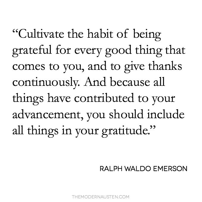 Ralph Waldo Emerson quote about gratitude
