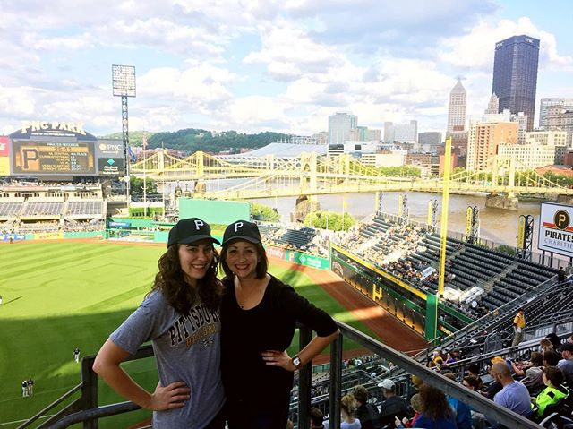 Our first photo together in practically a decade! I have no idea how that happened. Remedying that with a good old fashioned game of baseball! Forever friends since high school 💛#letsgobucs