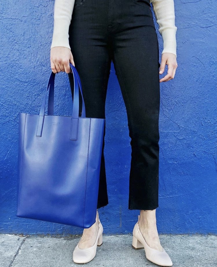 The Day Tote, Kick Crop Jean, and Day Heel.