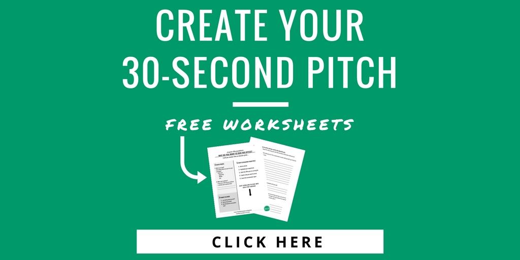 elevator pitch worksheets