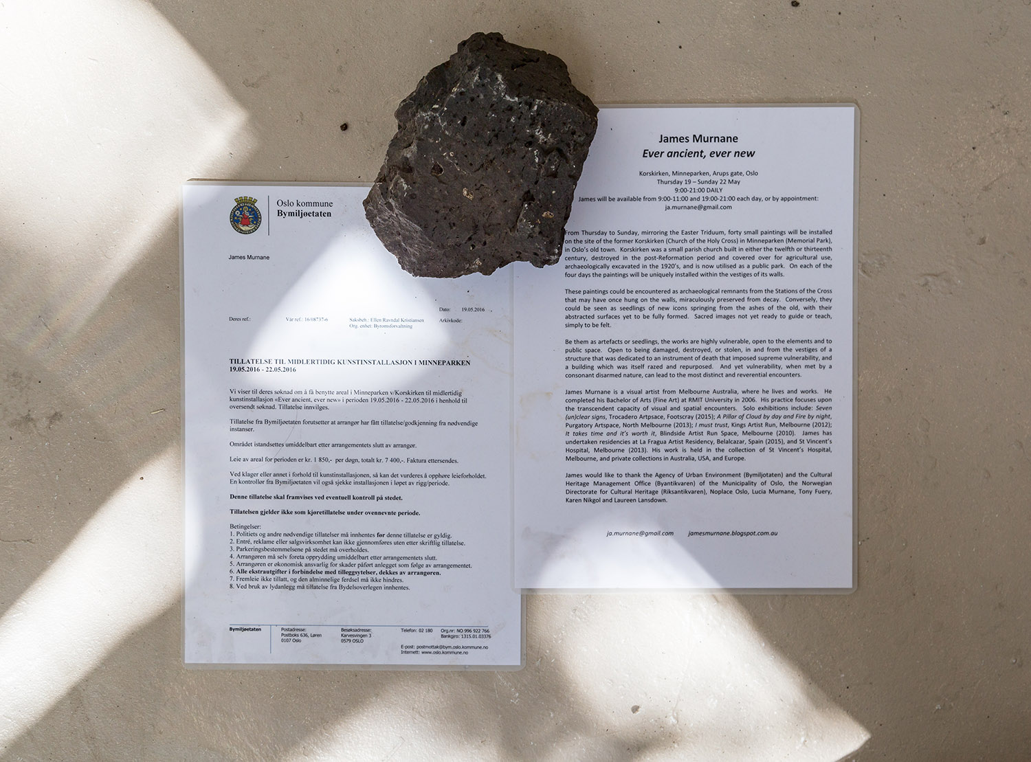 Permit for use of Korskirken, and exhibition sheet from Korskirken, both 2016, laminated paper, A4; stone.