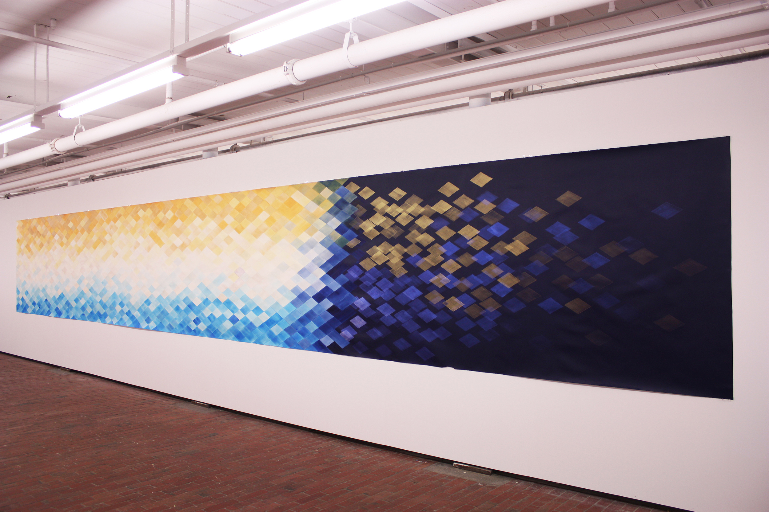 A key , 2013, acrylic on paper, 140x980cm.  As part of  Aura with Laureen Lansdown at c3 Contemporary Art Space, Abbotsford, April 2013.