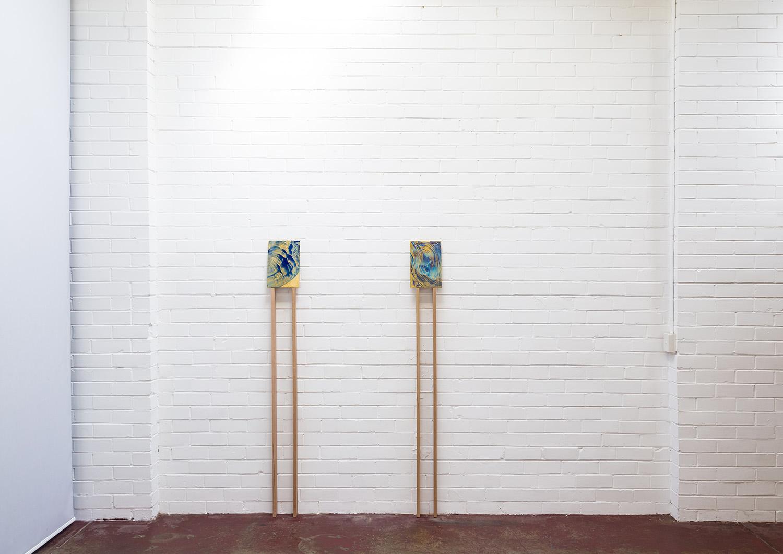 Dwelling with You installation.   A heart , 2017, acrylic on carved Japanese Magnolia, 30x20cm.   Dans le ciel et sur la terre , 2018, acrylic on carved Japanese Magnolia, 30x20cm.  Image: André Piguet.
