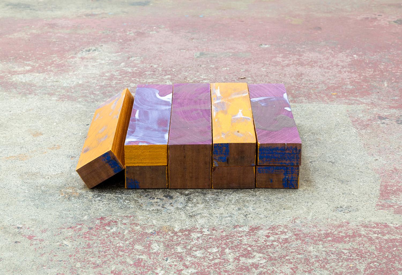 Becoming flesh , 2018, acrylic on purpleheart, 6x29x28.5cm.  Image: André Piguet.