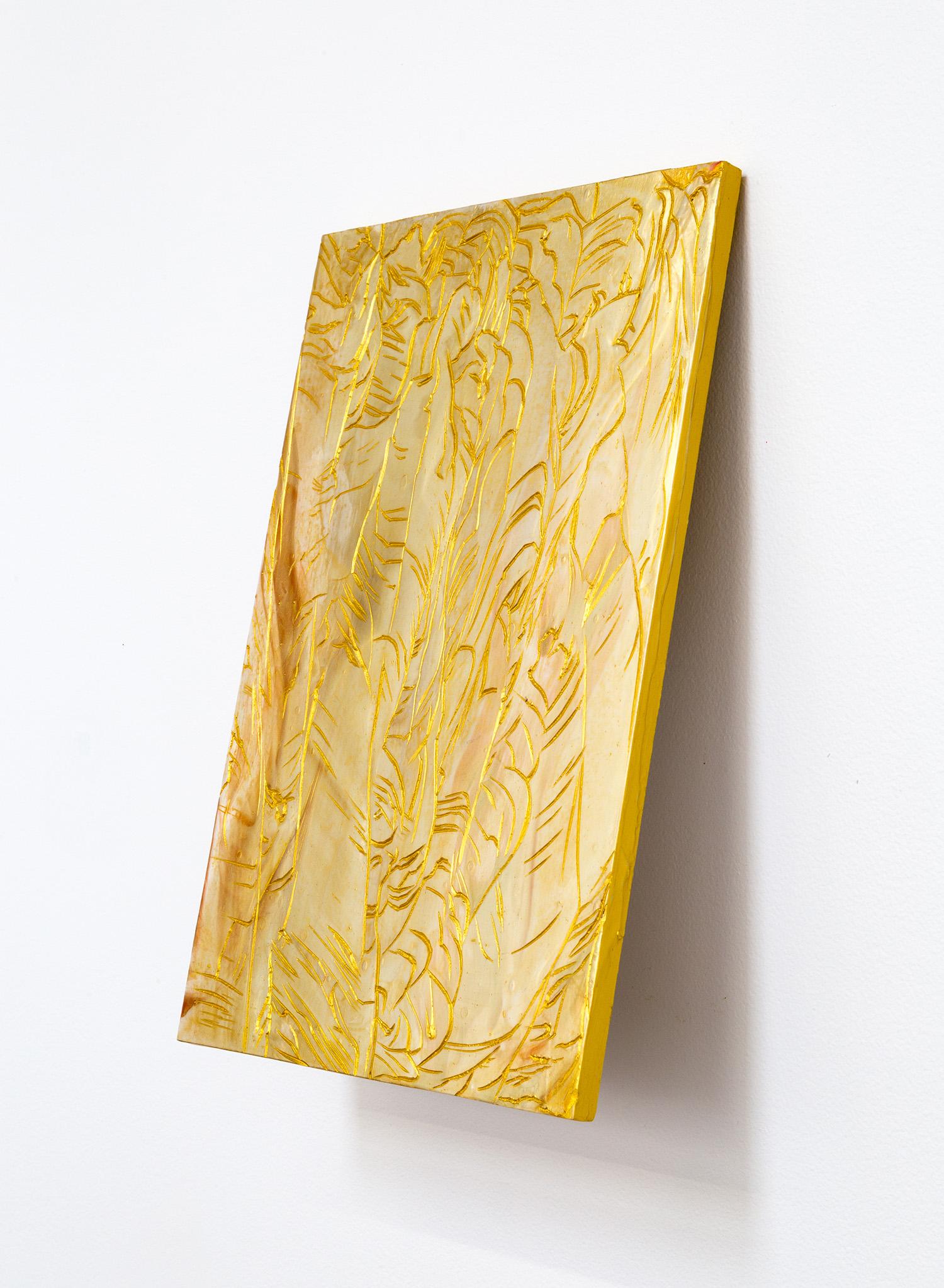 L'astre d'en haut , 2018, acrylic on carved Japanese Magnolia, 30x20cm.  Image: André Piguet.