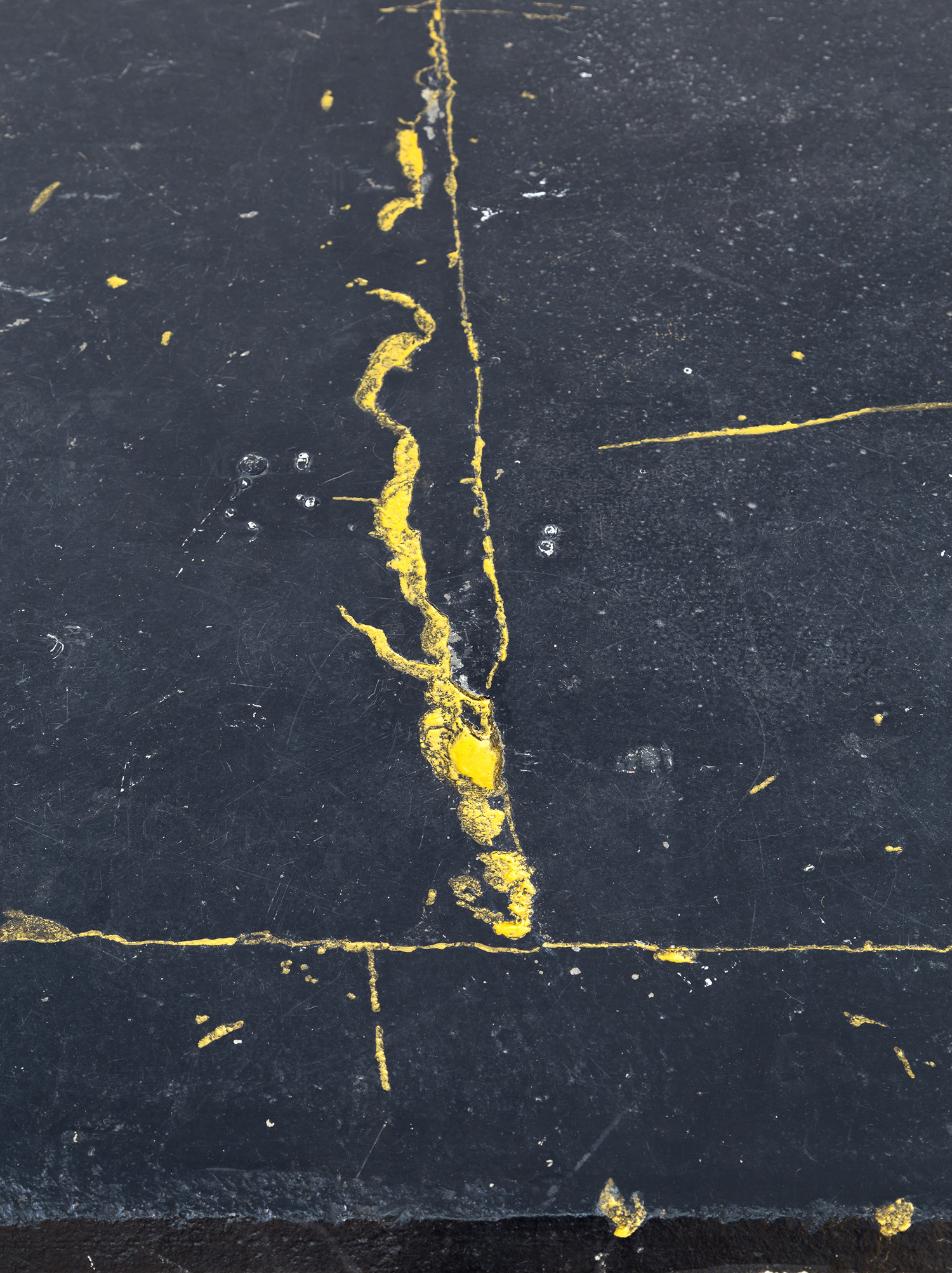 Untitled  (detail), 2019, acrylic in floor cavities, dimensions variable.  Image: André Piguet