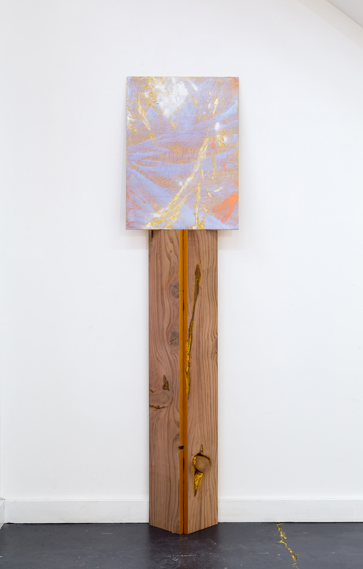 A moment (extended) , 2019, acrylic on engraved Silky Oak ply, 61x44cm; support, acrylic on Californian Redwood, 115.5x27x17cm.  Image: André Piguet
