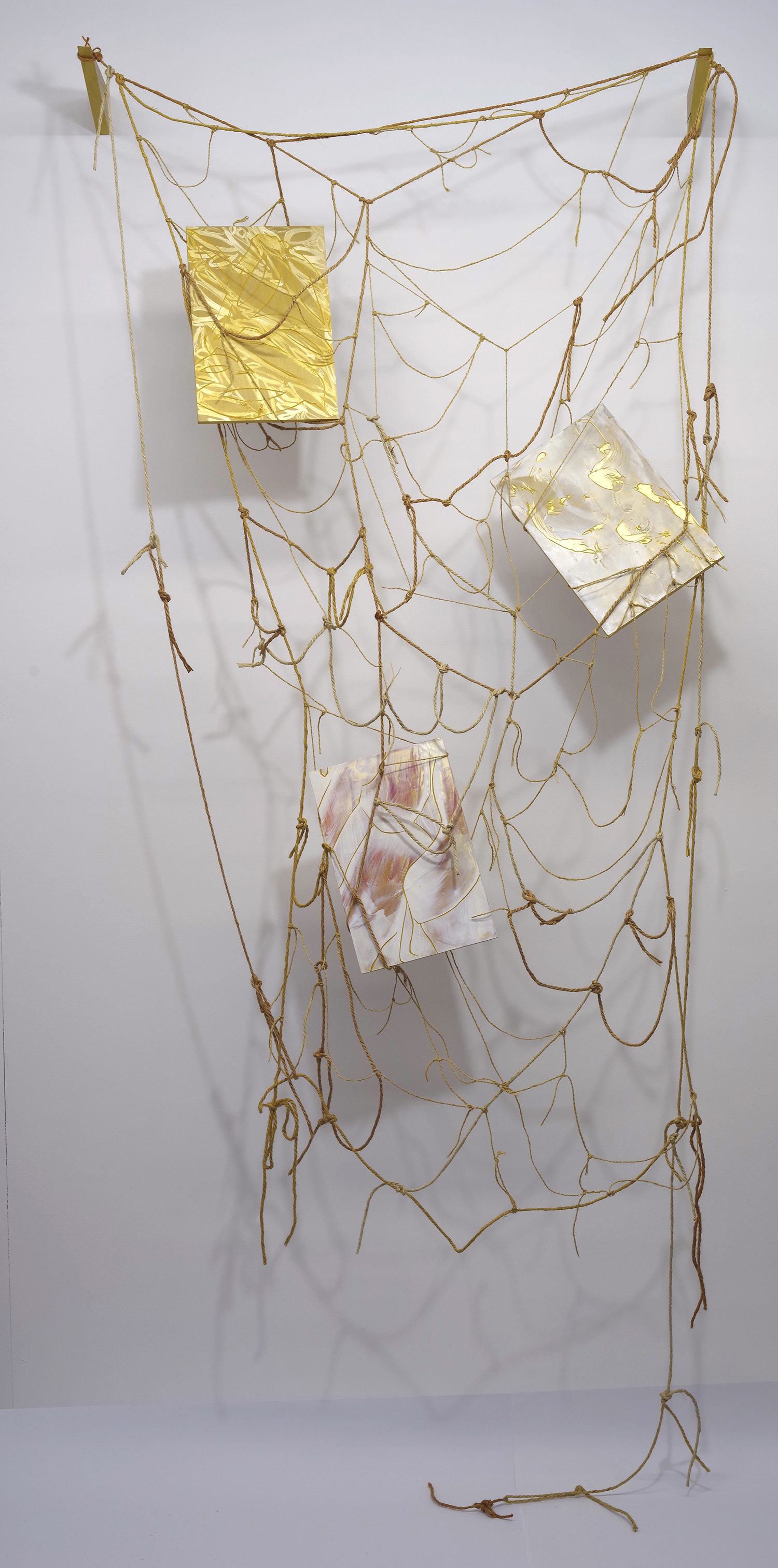 Form me , 2018-19, acrylic on ply, twine, and engraved Japanese Magnolia, 210x90x26.5cm.