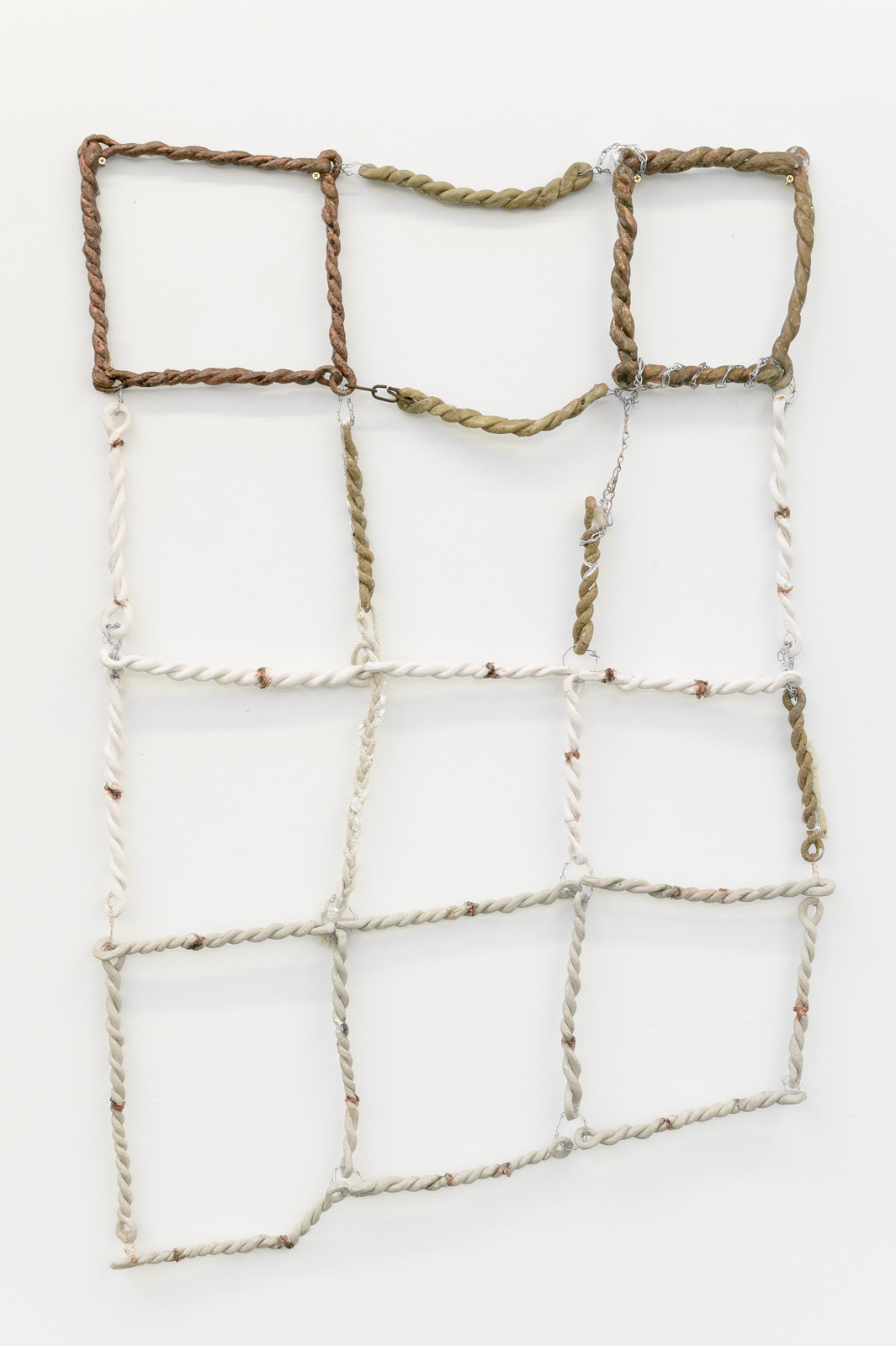 Jordan Mitchell-Fletcher,  Untitled (Chain 1) , 2019, ceramic, porcelain clay, rope, wire, copper powder patina, Plastimake and found chain, 117×79cm.  Image: Aaron Christopher Rees