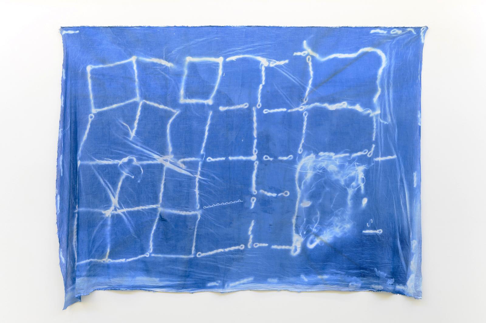 Jordan Mitchell-Fletcher,  Untitled (Chain 2) , 2019, cyanotype on cotton, 143×200cm.  Image: Aaron Christopher Rees
