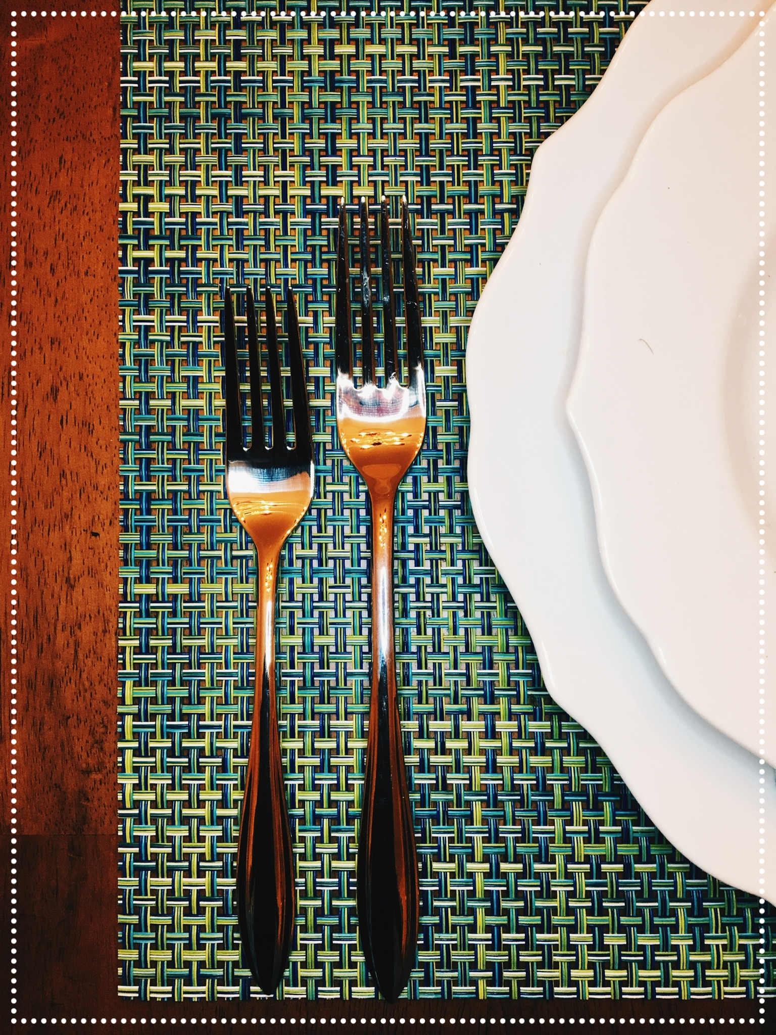 Salad is typically served before the main course. The salad fork is often placed on the far left side of the place mat. The dinner fork is normally placed to the right of the salad fork.