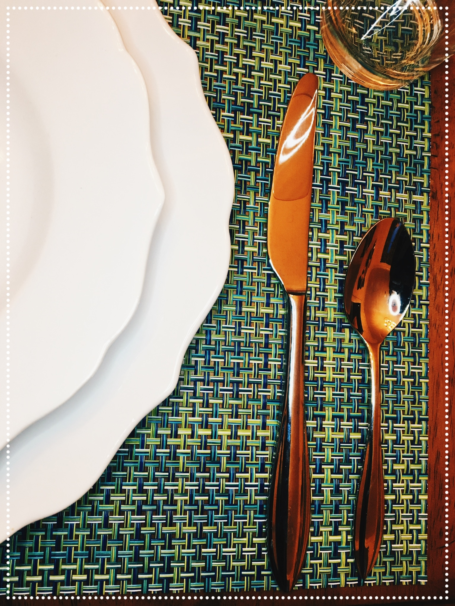 In a similar fashion, soup is also served before the main course, hence, the soup spoon is often placed on the far right side of the place mat. The dinner knife usually flanks the dinner plate on the right side of the place mat.