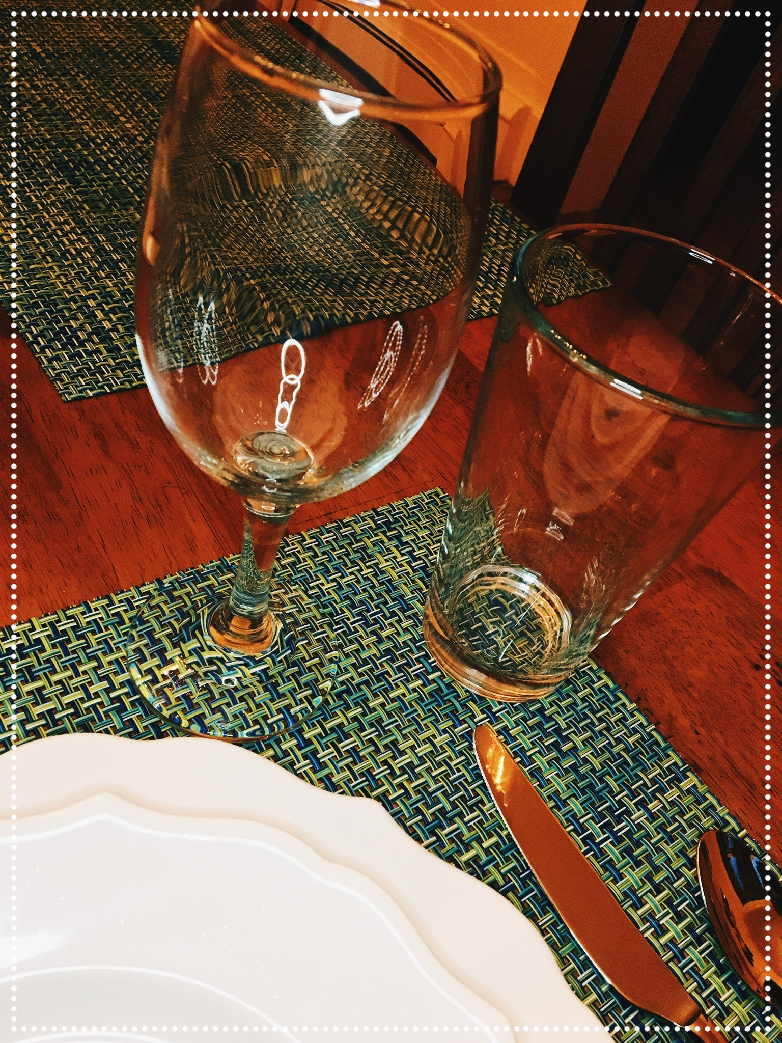 Beverage glasses (wine and water glasses) are often placed on the top right portion of your place mat.