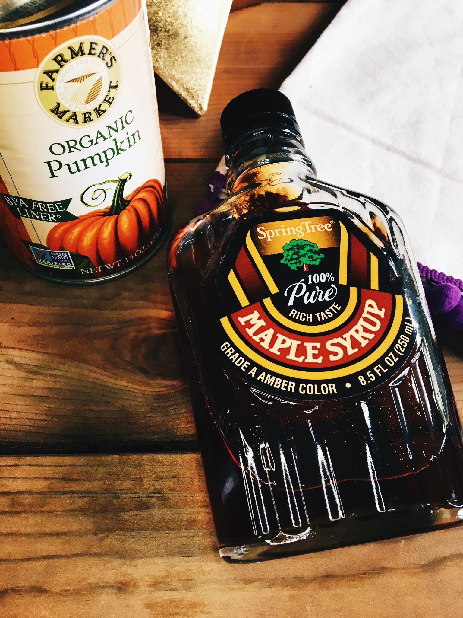 The brand of pumpkin purée I used is called Farmer's Market Organic Pumpkin. The maple syrup I used is by SpringTree, 100% Grade A Pure Maple Syrup. You can use any brand that you may have on hand.