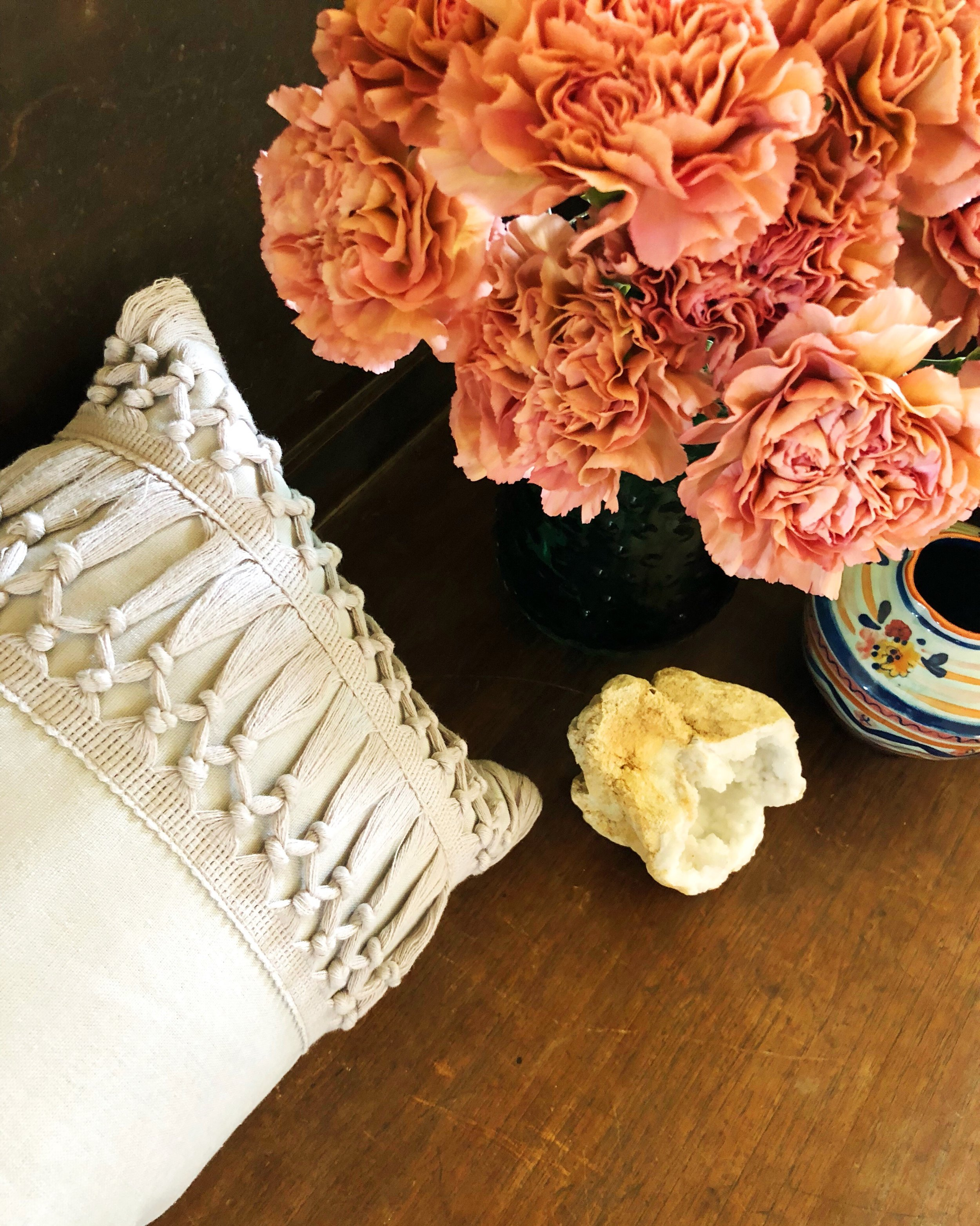 These lovely, fresh Carnations add the perfect pop of color to my living space. They last forever!