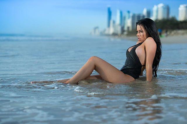 Beach shoot with the lovely @itsselena1 wearing @charlieswimwear 👙