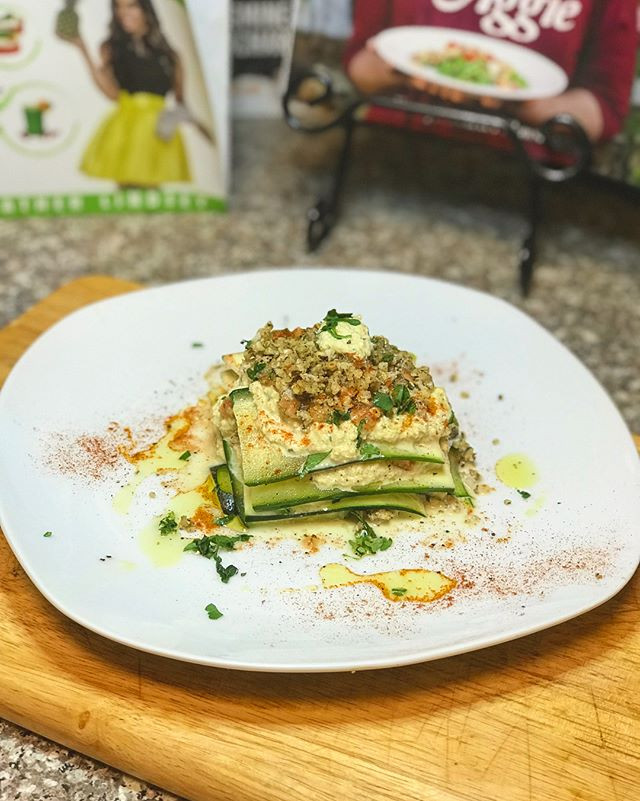 Raw Food 12: Raw Lasagna...... zucchini noodles, marinara from two days ago that I made.... , cashew cheese, and walnut meat seasoned Italian style! . . . #comeeatwithaggie #feed #rawfood #rawlasagna #cookingislife #foodislife #budgetfriendlymeals #cooklikeaboss #rawvegan #plating