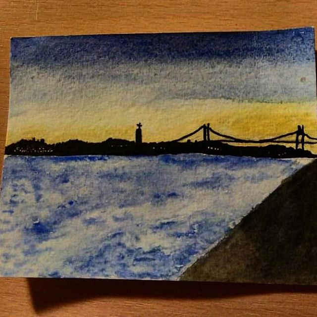 Saudades: Tagides, Rio Tejo  Started with water colours about 1,5 year ago in Lisbon. Finished the Mini (8 x10 cm) painting now that I own Indian ink...😄 in Rotterdam. Missing that river!  Next one of the Erasmus bridge and Maasriver, might start here and will finish...at the Ganga? #wanderlust #tagides #lisboa #sunset #riotejo #indianink #fishteachallenge #inktober2019