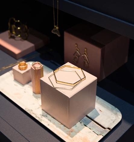 Slim birchwood tray used to display jewellry