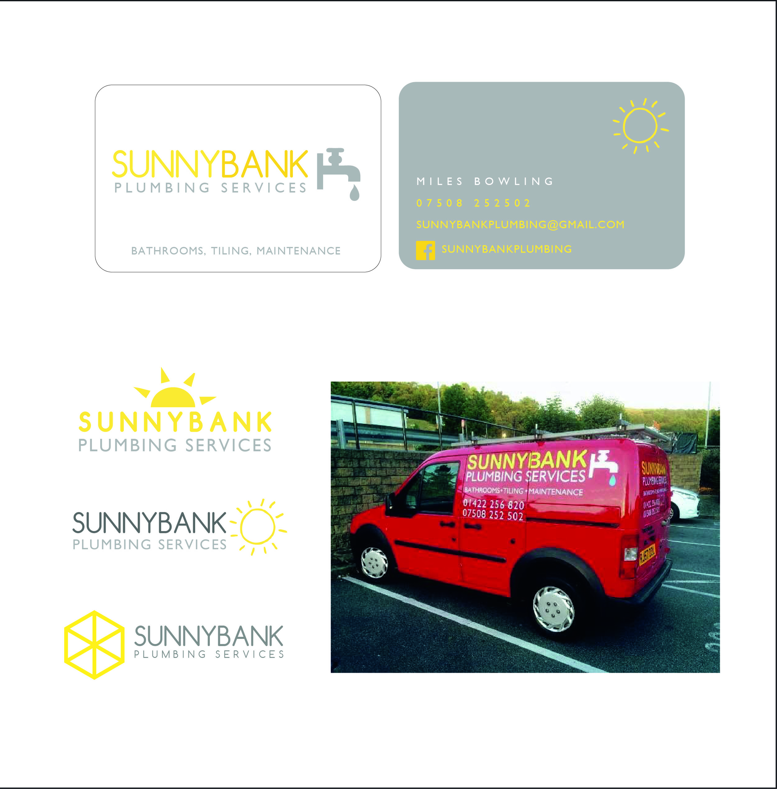 """SUNNYBANK   Tradesman Miles came to me wanting a logo and business identity developing for his newly developed business.. He had the name in mind, but no other real brief. I provided market research, developed colour palettes and designed a series of logos for him to choose from.   """"These are perfect, thank you so much, great work! I would definitely reccomend you to others. """"  Miles Bowling - Owner- SunnyBank"""
