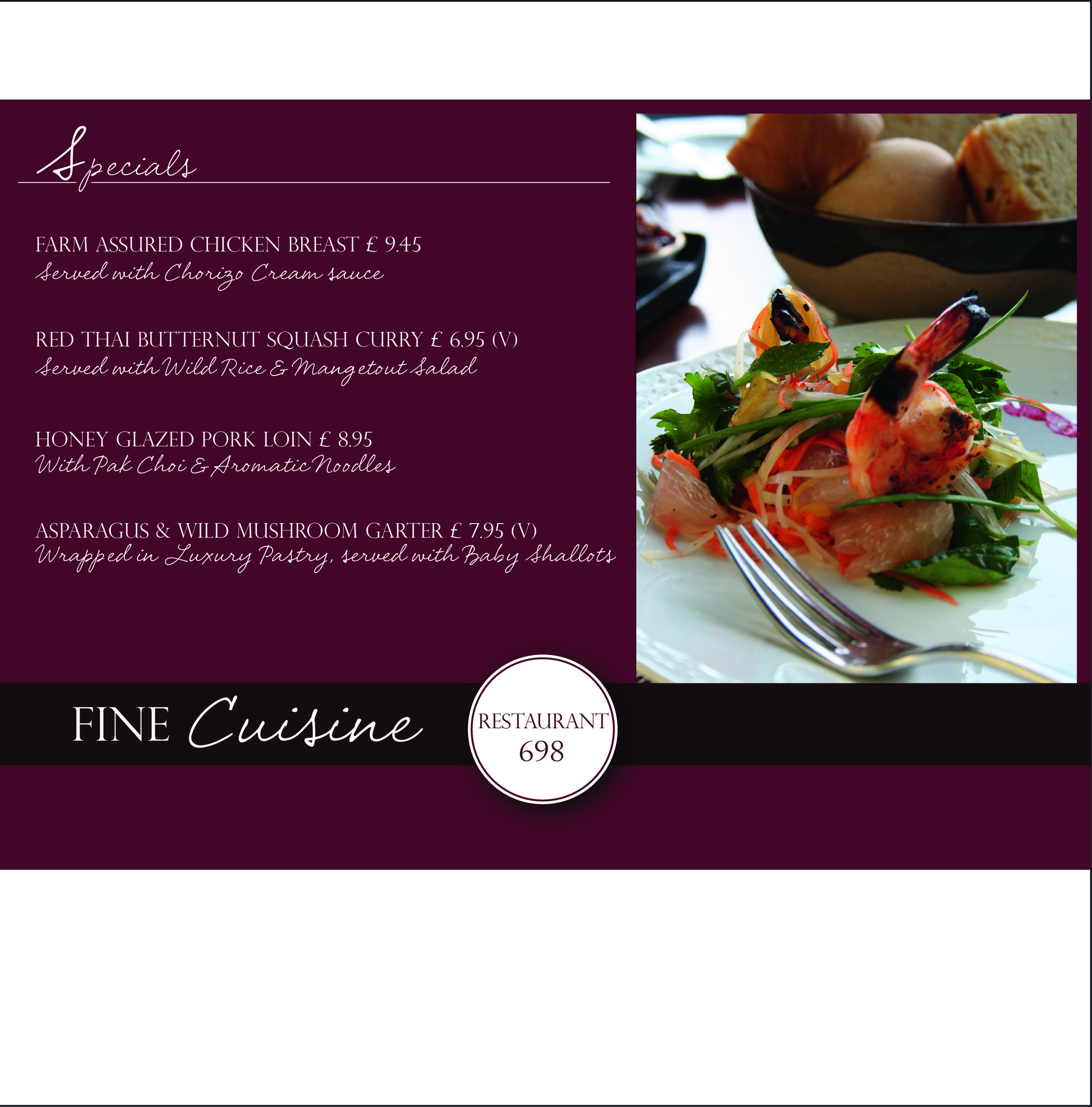 """RESTAURANT 698   Restaurant 698 wanted a special menu designing that featured their fine dining experience. They provided the information and photography, I used a rich colour palette and a combination of classic fonts and scripts to convey elegance and high quality.  """" Wow - thanks so much, these are fantastic!Glad you're enjoying doing this for us - you're a star!   Paul Davidson - Manager - Restaurant 698"""