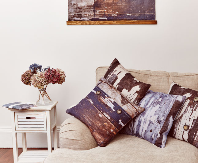Earthy linen cushions, abstract texture