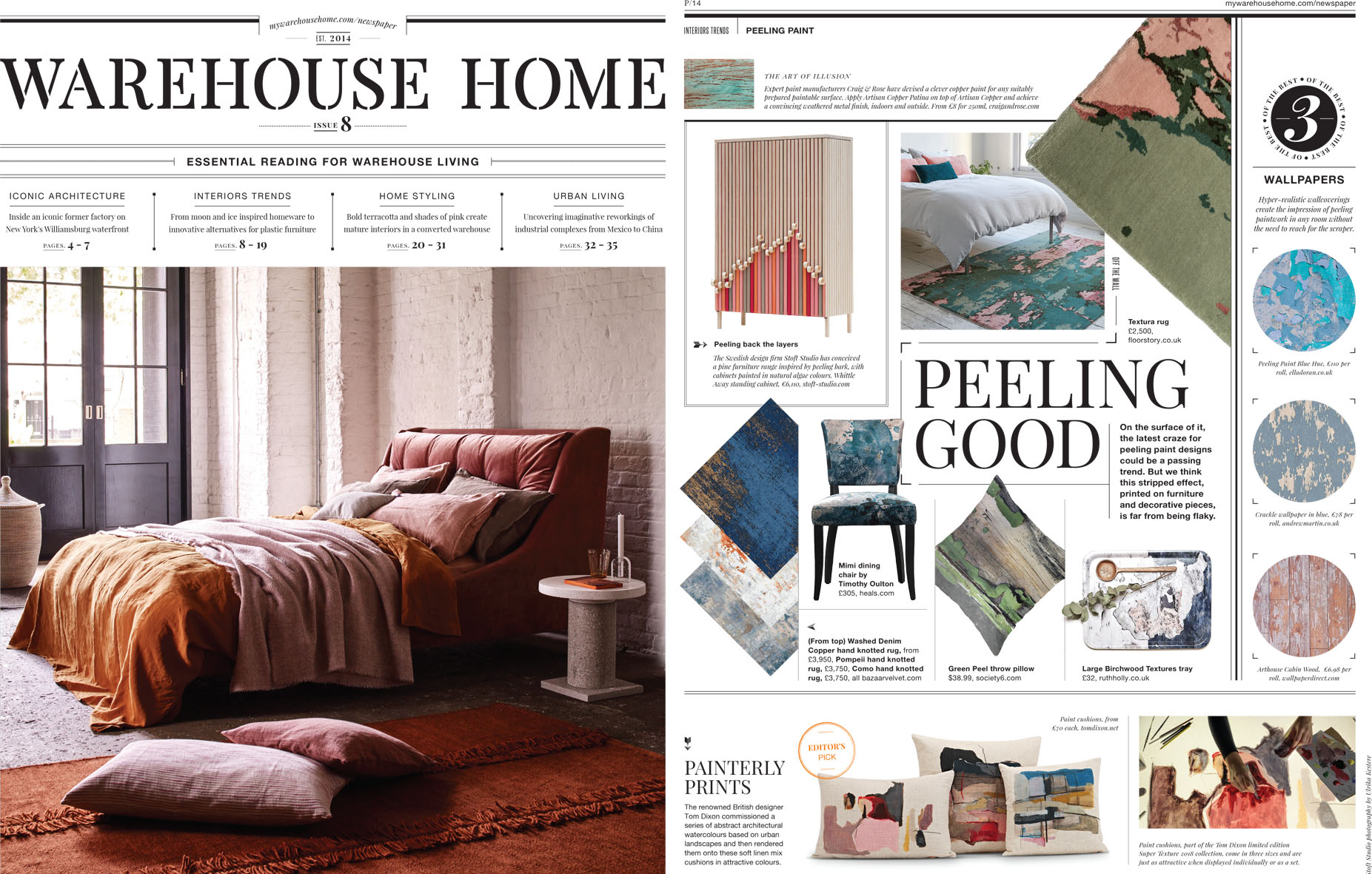 Warehouse Home Issue 8 - Ruth Holly's large birchwood textures tray was featured in issue 8 of the bi-annual design magazine Warehouse Home.Providing essential interior design inspiration for loft apartments and warehouse conversions as well as decorating ideas for incorporating vintage, industrial and reclaimed furniture in a modern home.https://mywarehousehome.com