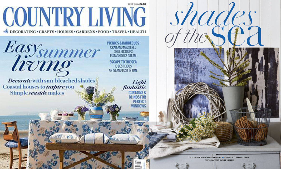 Country Living Magazine - Requested by Country living magazine, our art prints were included in part of their 'shades of the sea' feature. Inspired by coastal beauty, the Breeze signature print and Monochrome Signature Print come in 3 sizes and add texture and depth to any wall! :)