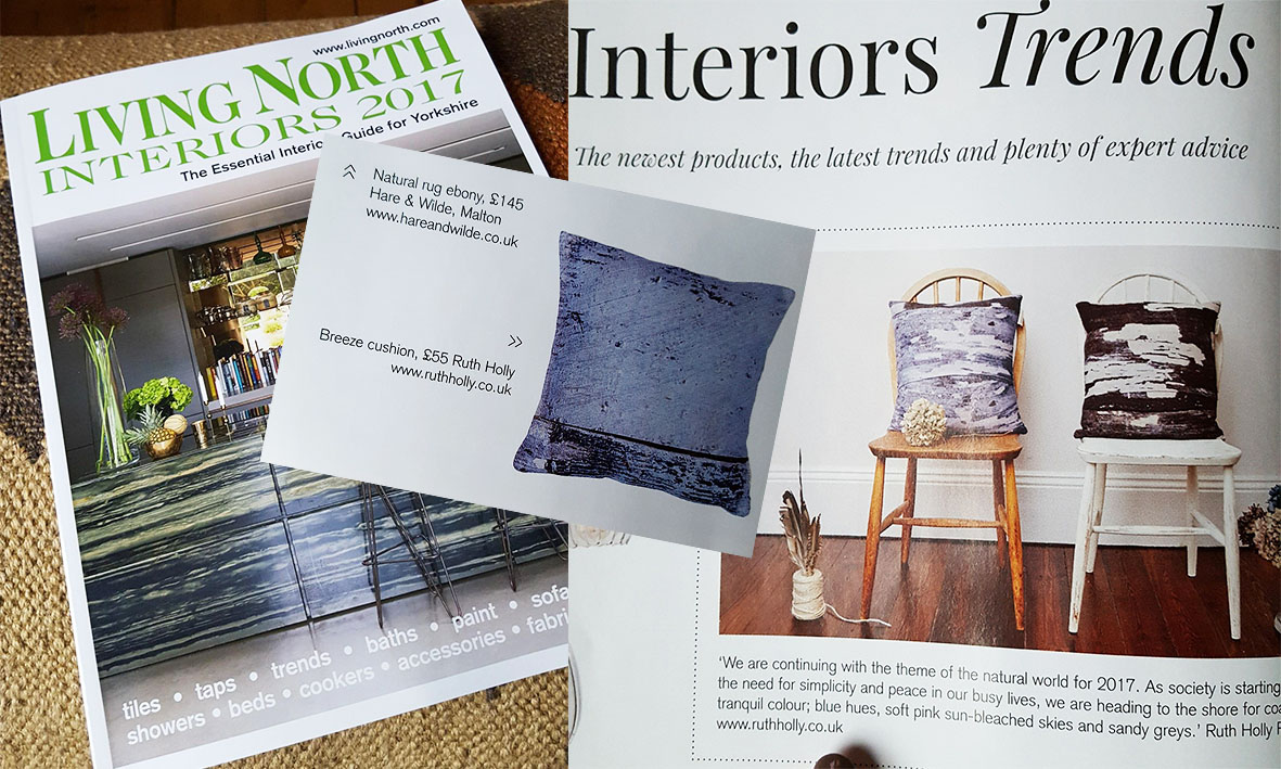 Living North Magazine - Our Breeze Signature print cushion was featured in Living North's Interiors Trends article. You can find this product on my website here :) Our tea towels were also up for grabs in their online competition!