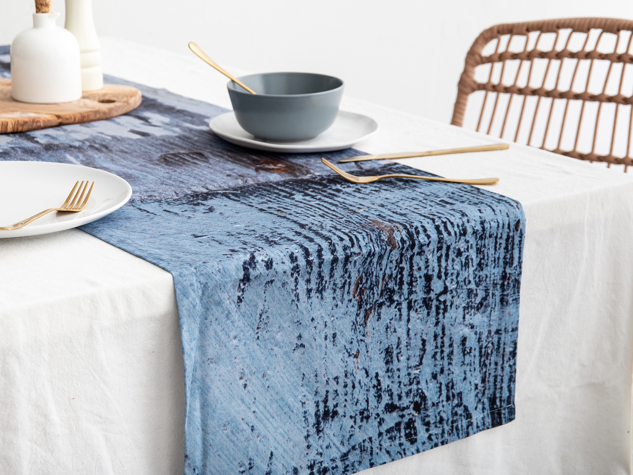 Ruth Holly Blue Abstract Design Cotton Table Runner