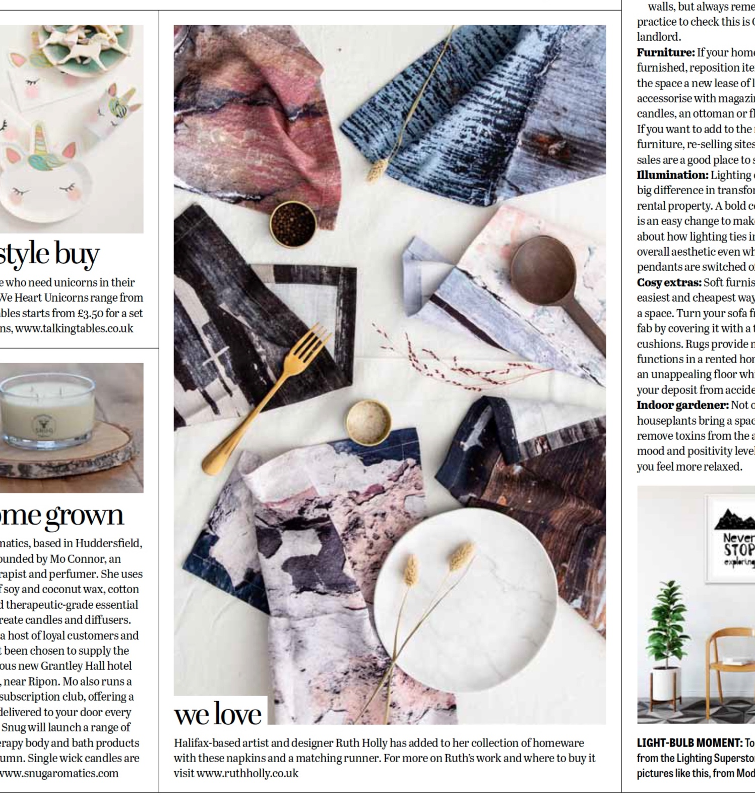The Yorkshire Post Magazine - Our NEW napkins where featured in the 'we love' section of the Yorkshire Post in July 2019, a beautiful magazine highlighting new arrivals in the home and garden areas. You can shop these stylish cotton napkins with matching table runners here.
