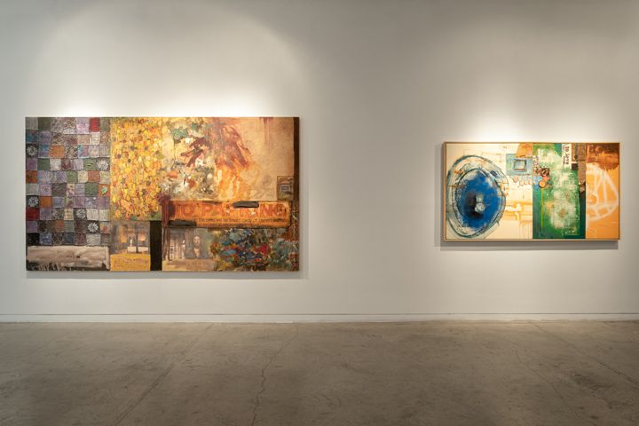 Left: Mohammad Omer Khalil , The Moor's Last Sigh, 2010 - 11, Oil and collage on board, 71.25 x 126.75 in.  Right: Mohammad Omer Khalil , You Don't Have to Be II, 2003, Oil and collage on canvas, 44 x 80 in.