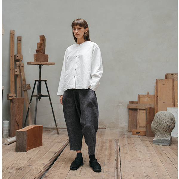 White Linen/Wool Shirt with Pocket £132.00 Grey Patterned Linen Pants with Pockets £128.00