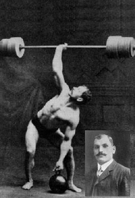 Arthur Saxon circa 1910. World Record Holder One-Arm Overhead Lift at 336 lbs. Used ONLY Physical Culture methods. No belt.. No wraps or straps.. No steriods. -