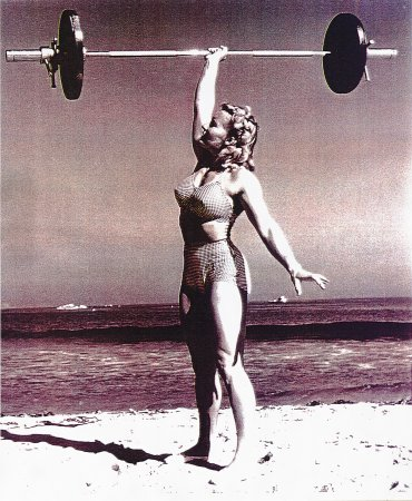 Abbye Stockton circa 1940. The FIRST female fitness superstar. She proved women CAN train with weights and maintain a feminine look. -