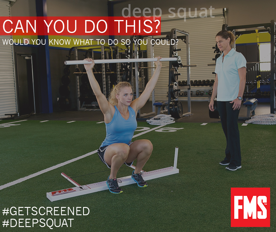 The Functional Movement Screen - the FMS readily identifies imbalances and limitations by Grading seven (7) fundamental movement patterns as optimal, acceptable or dysfunctional. The FMS quickly tells us any limiting patterns distorting your body structure. By IDENTIFYING these limitations, we come up with a more complete strategy on how to attain your results while improving body balance all at the same time. [for more info on the FMS]