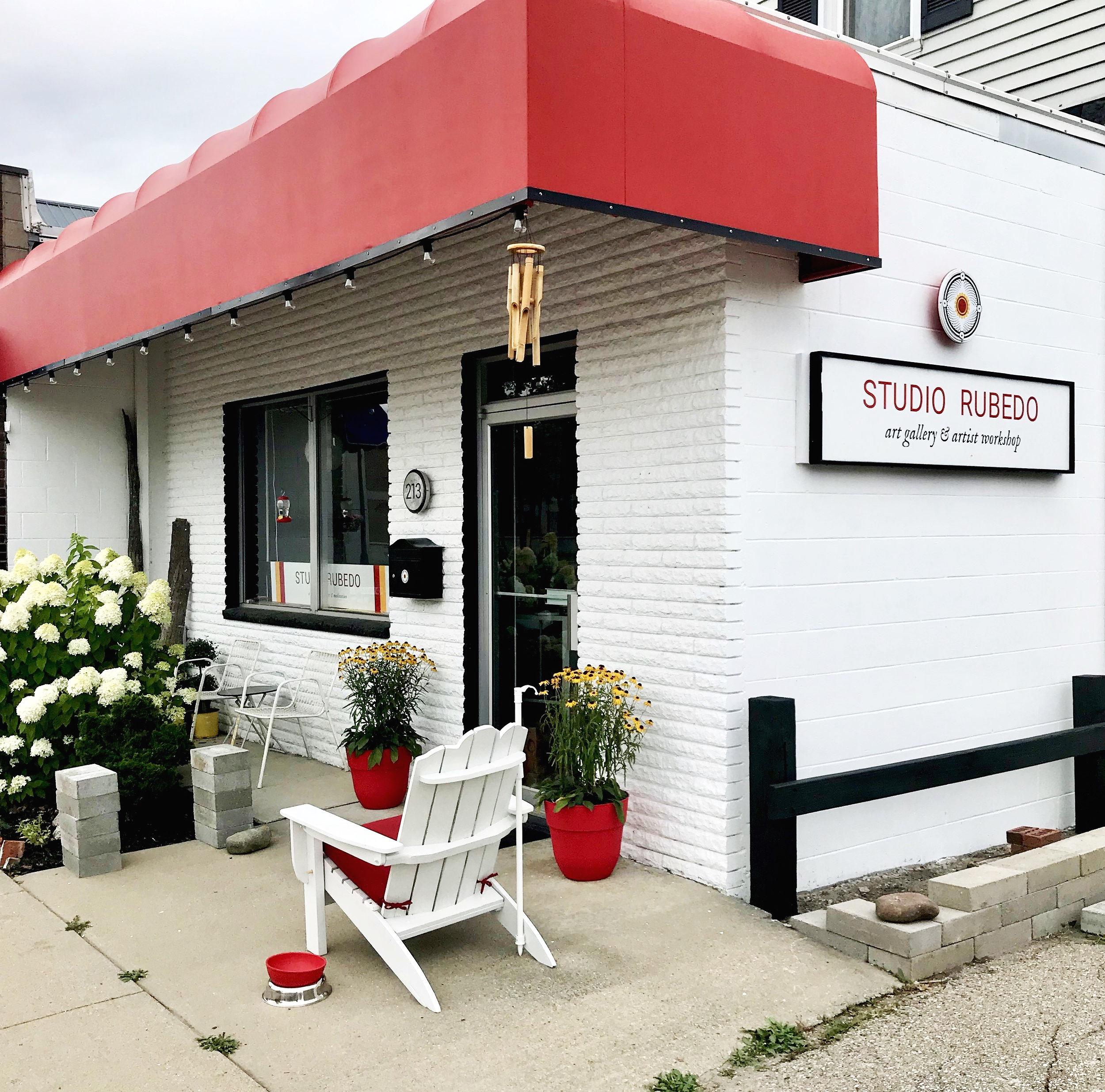 Studio Rubedo's new location at 213 West Chisholm in downtown Alpena, MI. Exterior and interior renovations are currently in progress.