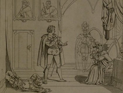 Polonius's death, as illustrated by Moritz Retzsch.