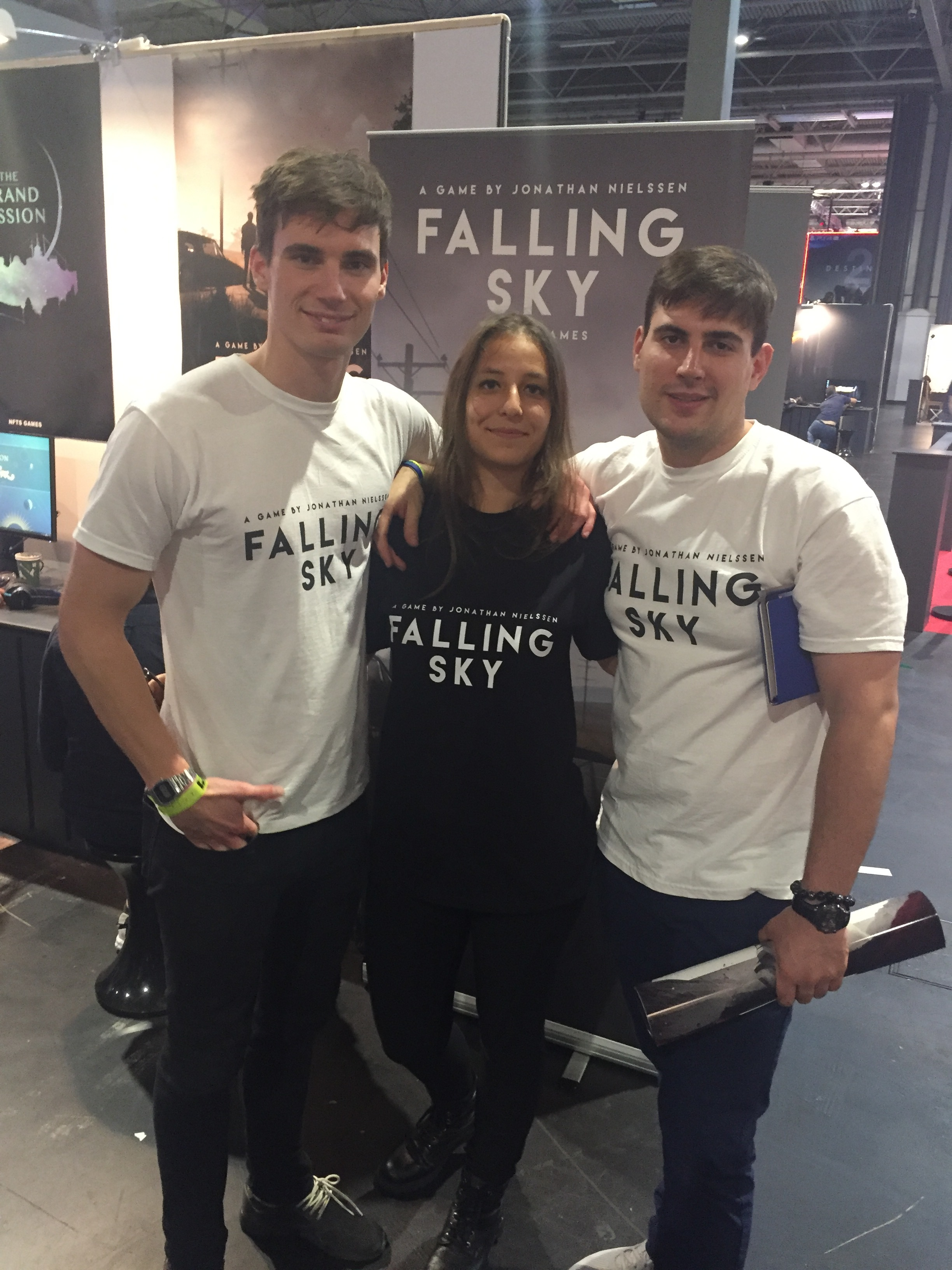 From the left: Jonathan, Zsofi and Nikolay at EGX 2017