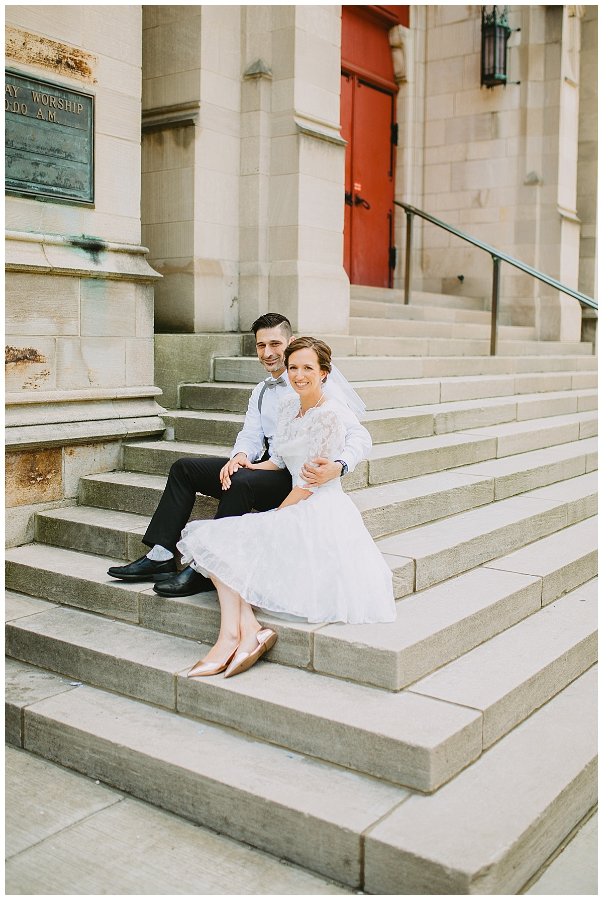 bride and groom vintage city hall elopement