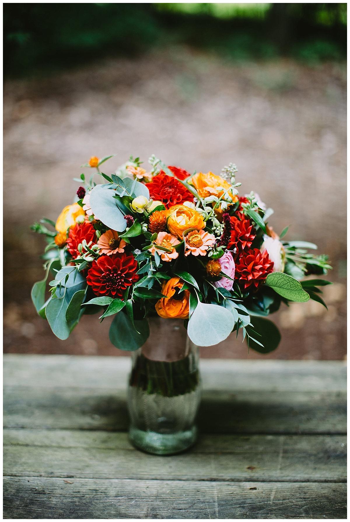 Red Orange Green Wedding Bouquet
