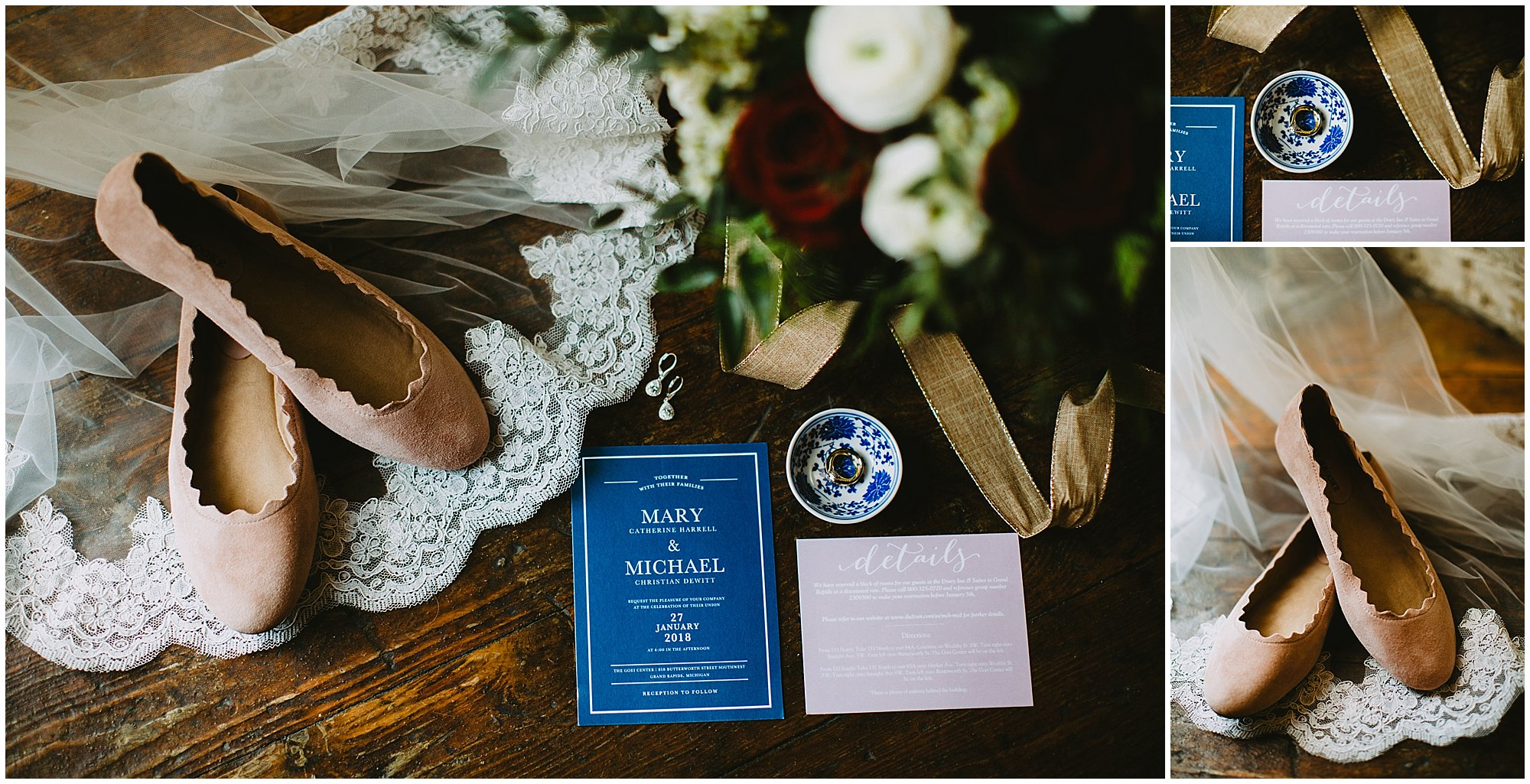 Wedding invitation flatlay Goei Center Grand Rapids