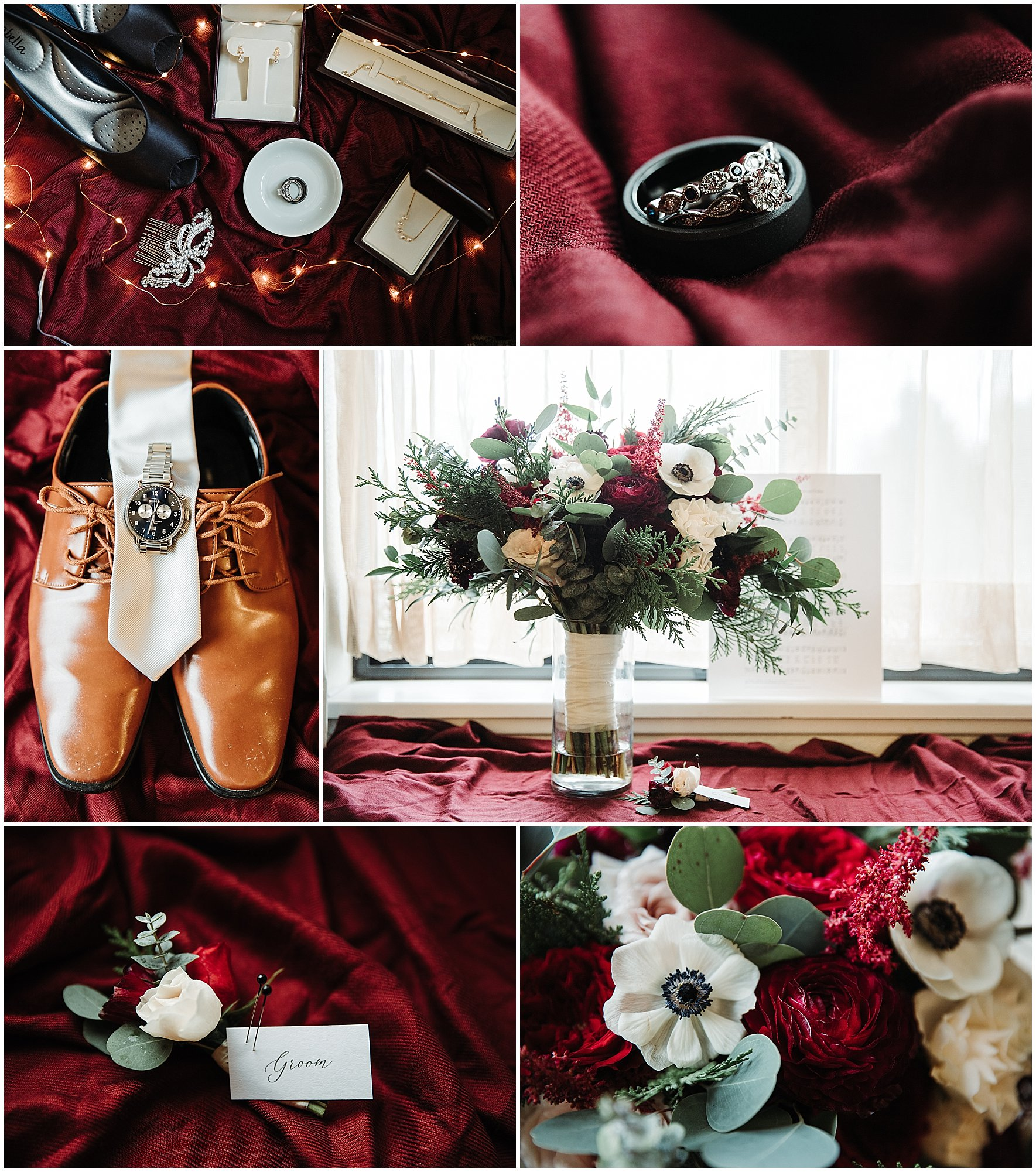 burgundy and navy wedding details