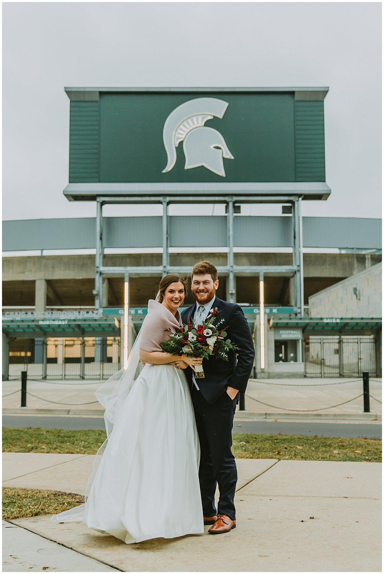 Michigan State University Stadium Winter Wedding